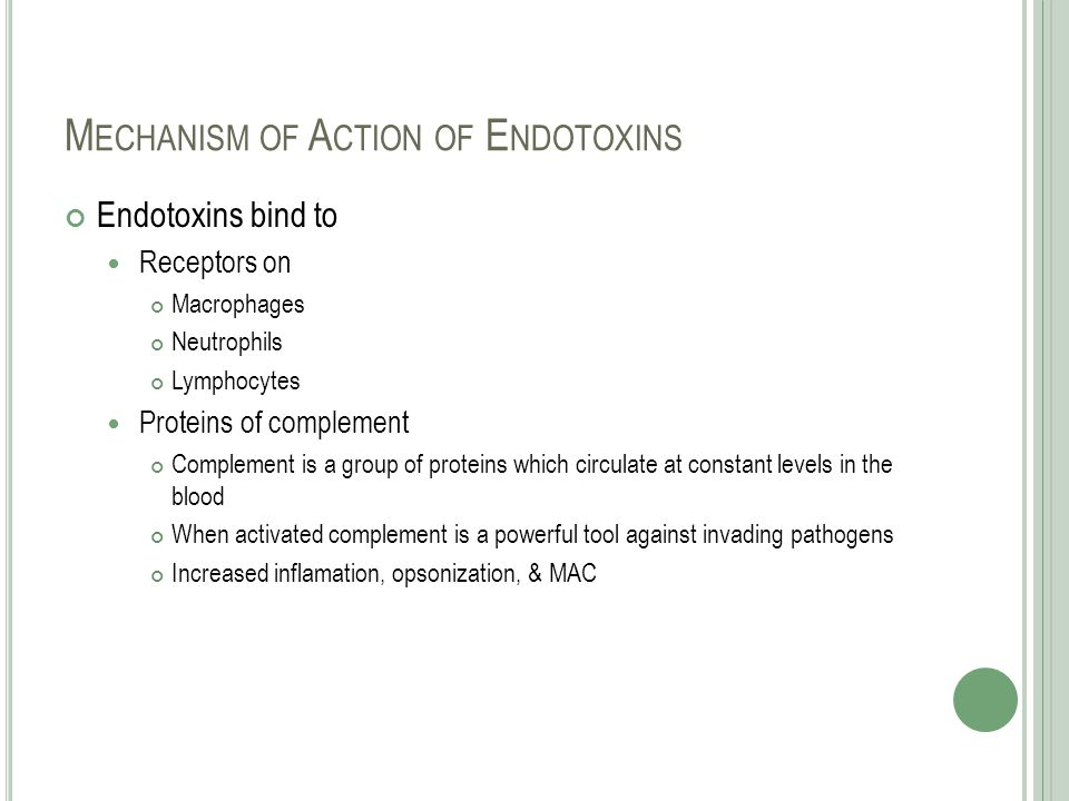 M ECHANISM OF A CTION OF E NDOTOXINS Endotoxins bind to Receptors on Macrophages Neutrophils Lymphocytes Proteins of complement Complement is a group