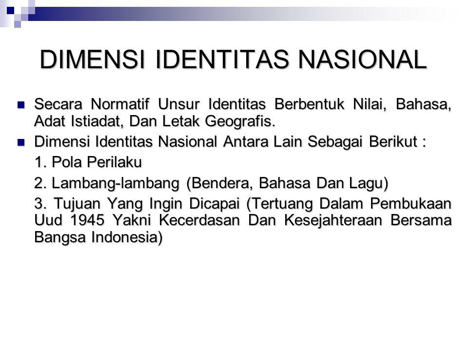 DIMENSI IDENTITAS NASIONAL Secara Normatif Unsur Identitas Berbentuk Nilai, Bahasa, Adat Istiadat, Dan Letak Geografis. Secara Normatif Unsur Identita