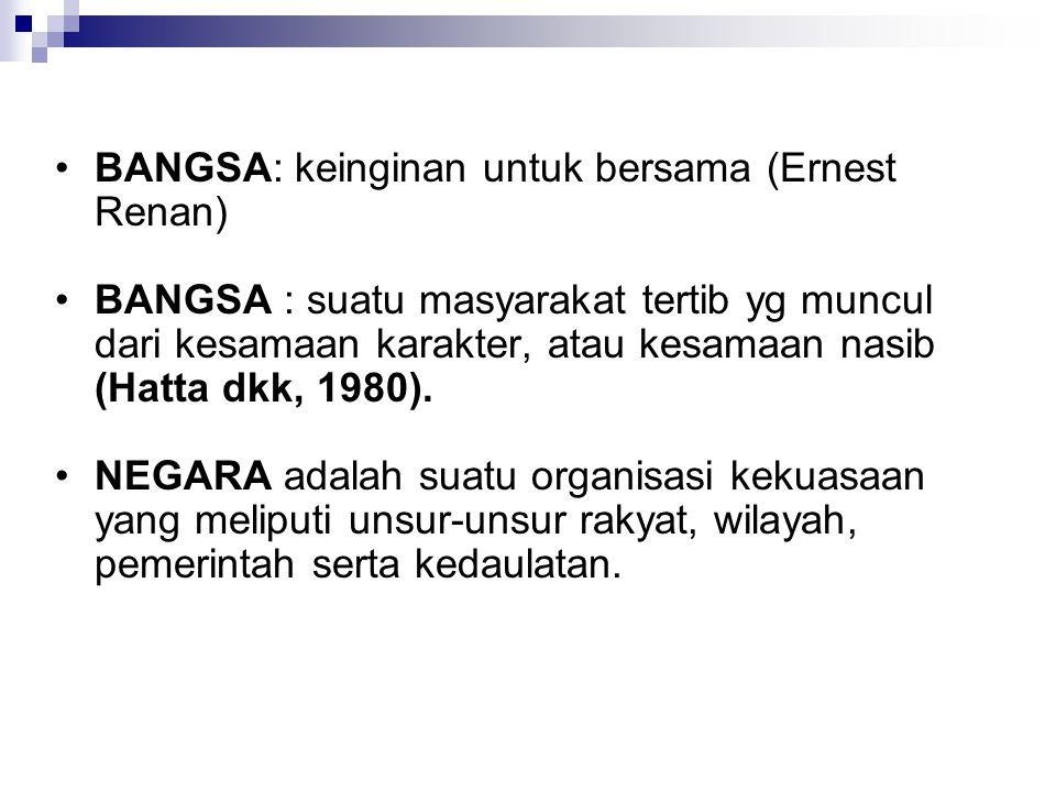 BANGSA: keinginan untuk bersama (Ernest Renan) BANGSA : suatu masyarakat tertib yg muncul dari kesamaan karakter, atau kesamaan nasib (Hatta dkk, 1980