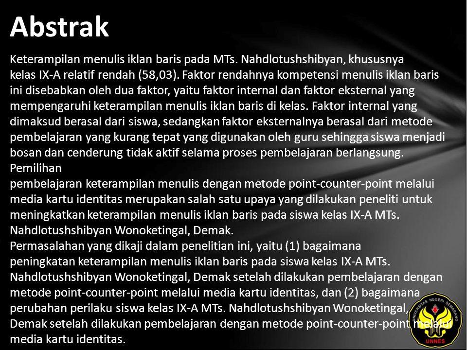 Abstrak Keterampilan menulis iklan baris pada MTs.