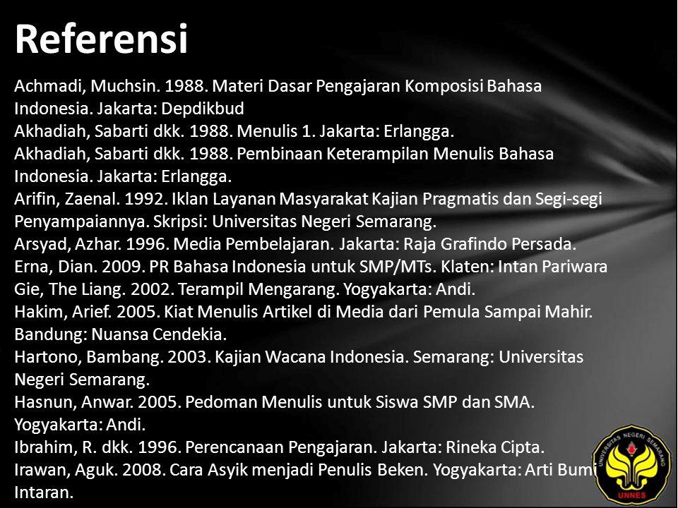 Referensi Achmadi, Muchsin. 1988. Materi Dasar Pengajaran Komposisi Bahasa Indonesia.