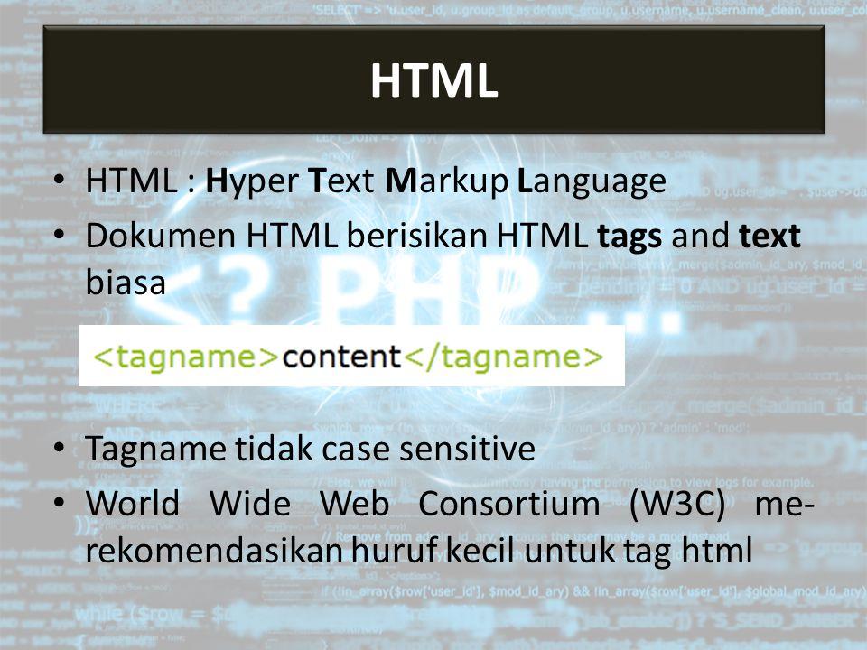 HTML : Hyper Text Markup Language Dokumen HTML berisikan HTML tags and text biasa Tagname tidak case sensitive World Wide Web Consortium (W3C) me- rekomendasikan huruf kecil untuk tag html HTML