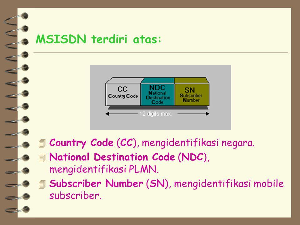 6.2. MSISDN Kita dapat memanggil sebuah mobile subscriber dengan men-dial beberapa kombinasi digit yang disebut Mobile Station International ISDN Numb