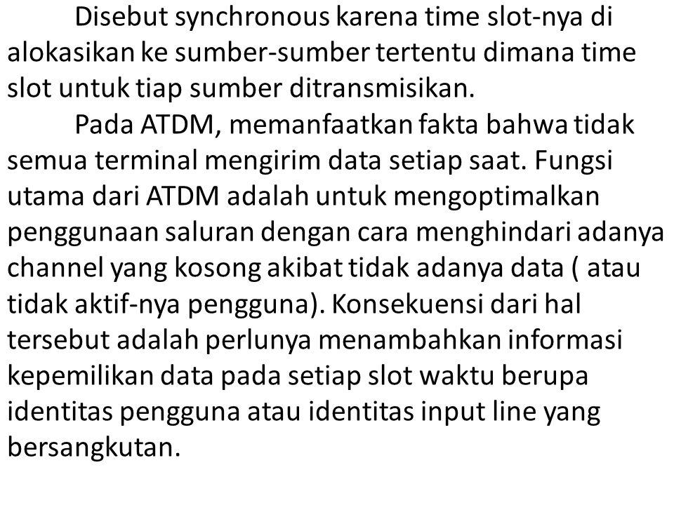 Disebut synchronous karena time slot-nya di alokasikan ke sumber-sumber tertentu dimana time slot untuk tiap sumber ditransmisikan. Pada ATDM, memanfa