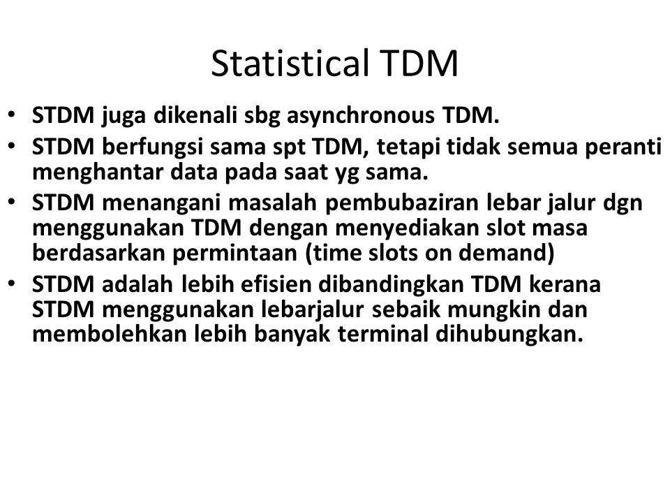 Statistical TDM STDM juga dikenali sbg asynchronous TDM. STDM berfungsi sama spt TDM, tetapi tidak semua peranti menghantar data pada saat yg sama. ST