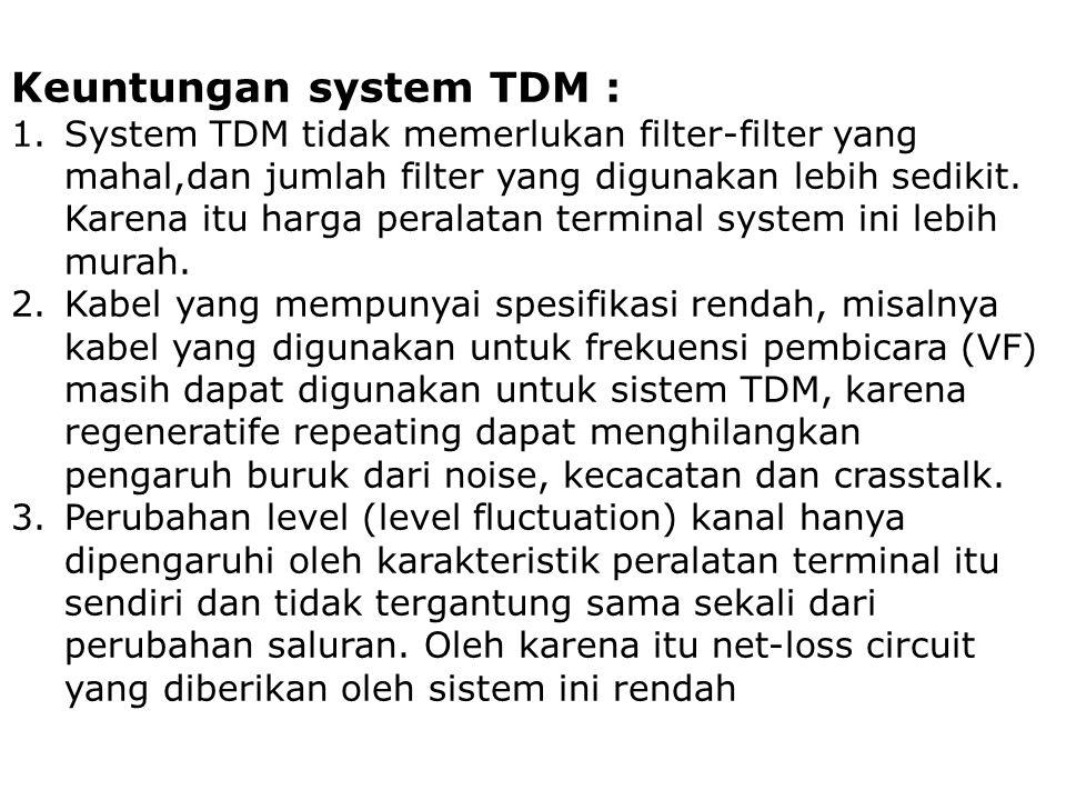 Keuntungan system TDM : 1.System TDM tidak memerlukan filter-filter yang mahal,dan jumlah filter yang digunakan lebih sedikit. Karena itu harga perala