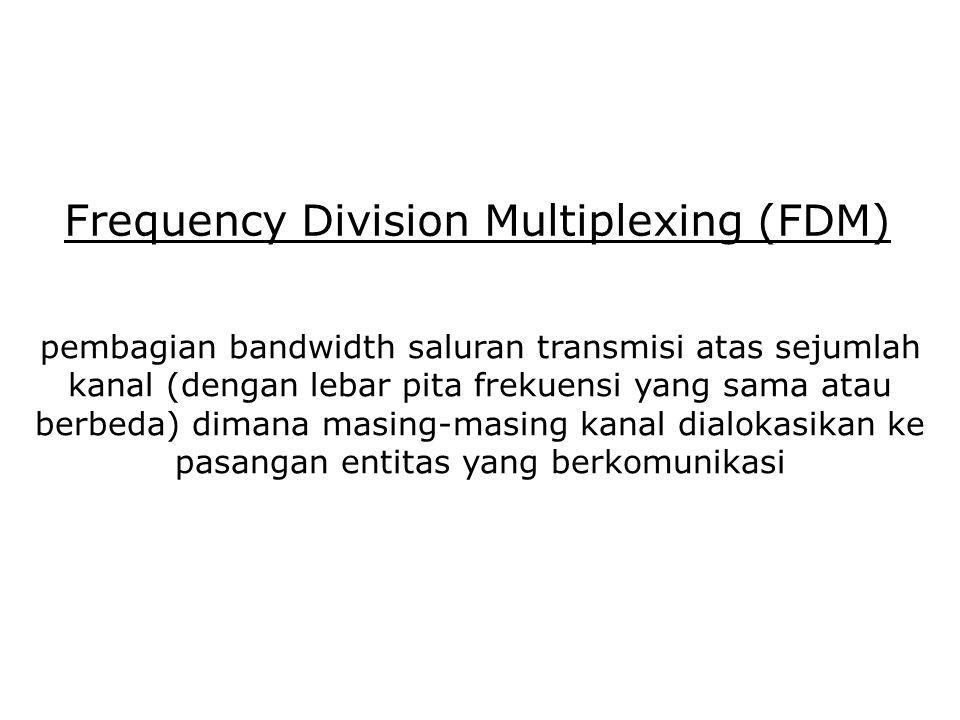 Frequency Division Multiplexing (FDM) pembagian bandwidth saluran transmisi atas sejumlah kanal (dengan lebar pita frekuensi yang sama atau berbeda) d