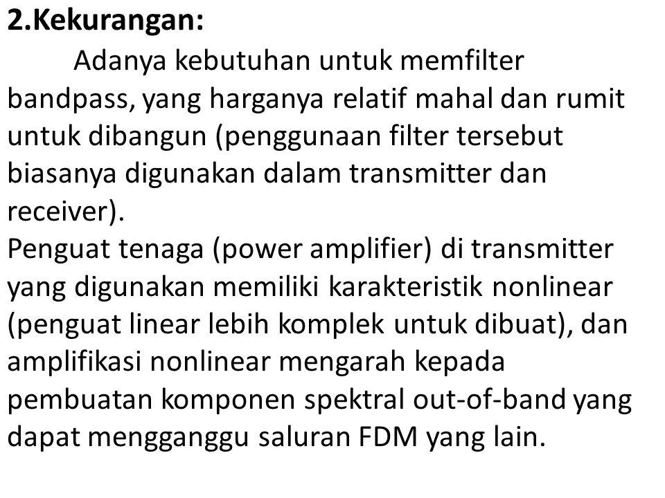 2.Kekurangan: Adanya kebutuhan untuk memfilter bandpass, yang harganya relatif mahal dan rumit untuk dibangun (penggunaan filter tersebut biasanya dig