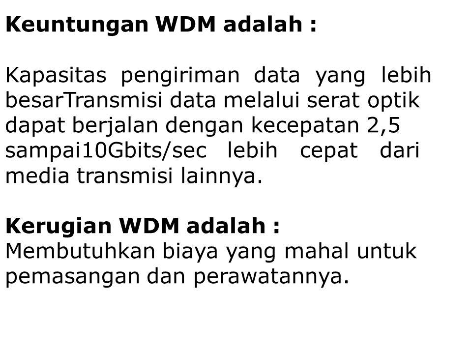 Keuntungan WDM adalah : Kapasitas pengiriman data yang lebih besarTransmisi data melalui serat optik dapat berjalan dengan kecepatan 2,5 sampai10Gbits