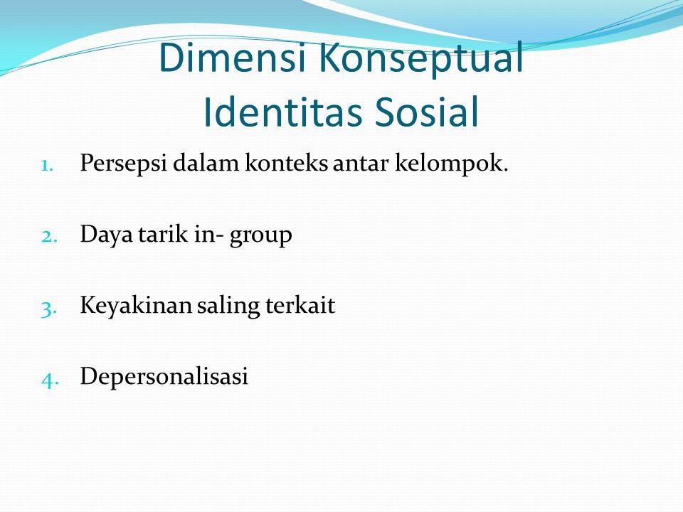 Dimensi Konseptual Identitas Sosial 1. Persepsi dalam konteks antar kelompok. 2. Daya tarik in- group 3. Keyakinan saling terkait 4. Depersonalisasi
