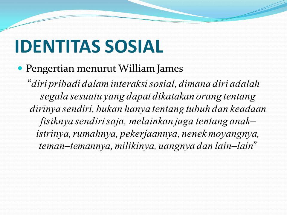 """IDENTITAS SOSIAL Pengertian menurut William James """" diri pribadi dalam interaksi sosial, dimana diri adalah segala sesuatu yang dapat dikatakan orang"""
