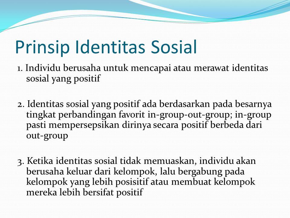 Prinsip Identitas Sosial 1. Individu berusaha untuk mencapai atau merawat identitas sosial yang positif 2. Identitas sosial yang positif ada berdasark