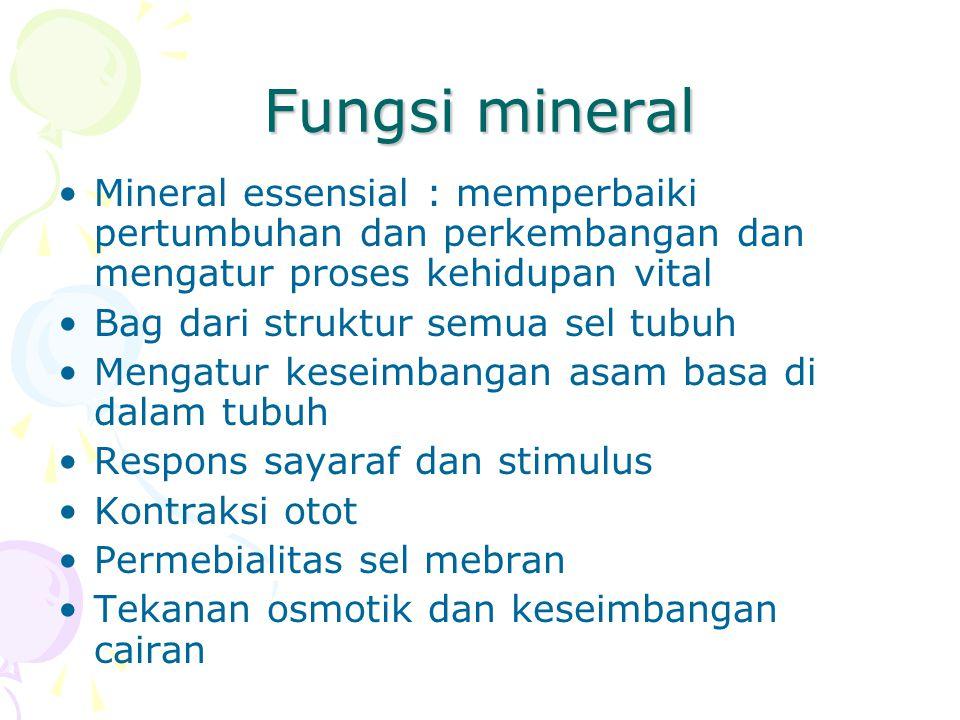 Fungsi mineral Mineral essensial : memperbaiki pertumbuhan dan perkembangan dan mengatur proses kehidupan vital Bag dari struktur semua sel tubuh Meng