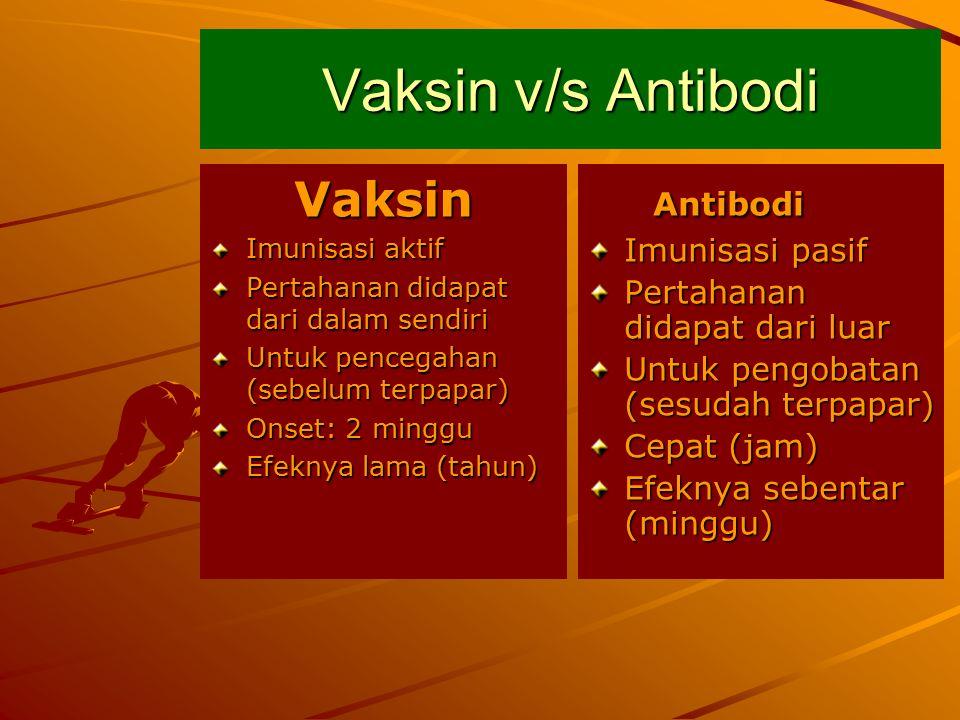 Vaksin Imunisasi aktif Pertahanan didapat dari dalam sendiri Untuk pencegahan (sebelum terpapar) Onset: 2 minggu Efeknya lama (tahun) Antibodi Antibodi Imunisasi pasif Pertahanan didapat dari luar Untuk pengobatan (sesudah terpapar) Cepat (jam) Efeknya sebentar (minggu) Vaksin v/s Antibodi