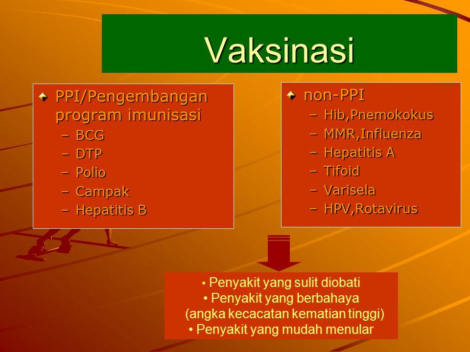 Vaksinasi PPI/Pengembangan program imunisasi –BCG –DTP –Polio –Campak –Hepatitis B non-PPI –Hib,Pnemokokus –MMR,Influenza –Hepatitis A –Tifoid –Varisela –HPV,Rotavirus Penyakit yang sulit diobati Penyakit yang berbahaya (angka kecacatan kematian tinggi) Penyakit yang mudah menular