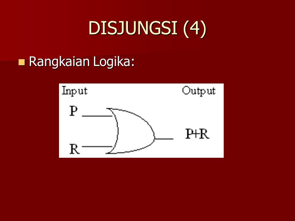 DISJUNGSI (4) Rangkaian Logika: Rangkaian Logika: