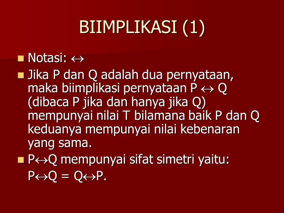 BIIMPLIKASI (1) Notasi:  Notasi:  Jika P dan Q adalah dua pernyataan, maka biimplikasi pernyataan P  Q (dibaca P jika dan hanya jika Q) mempunyai n
