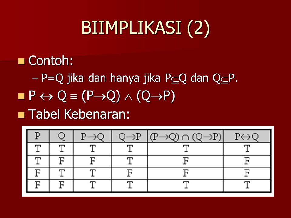 BIIMPLIKASI (2) Contoh: Contoh: –P=Q jika dan hanya jika P  Q dan Q  P. P  Q  (P  Q)  (Q  P) P  Q  (P  Q)  (Q  P) Tabel Kebenaran: Tabel K