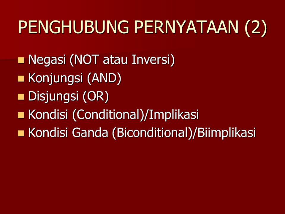 PENGHUBUNG PERNYATAAN (2) Negasi (NOT atau Inversi) Negasi (NOT atau Inversi) Konjungsi (AND) Konjungsi (AND) Disjungsi (OR) Disjungsi (OR) Kondisi (C