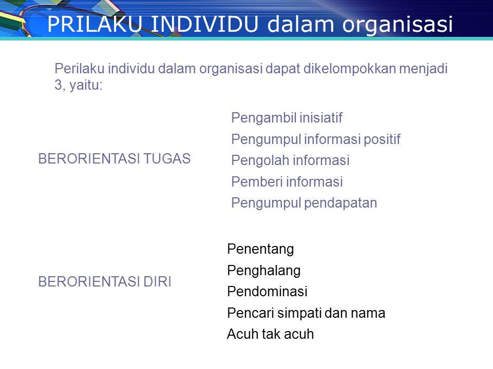 PRILAKU INDIVIDU dalam organisasi Perilaku individu dalam organisasi dapat dikelompokkan menjadi 3, yaitu: BERORIENTASI TUGAS Pengambil inisiatif Peng