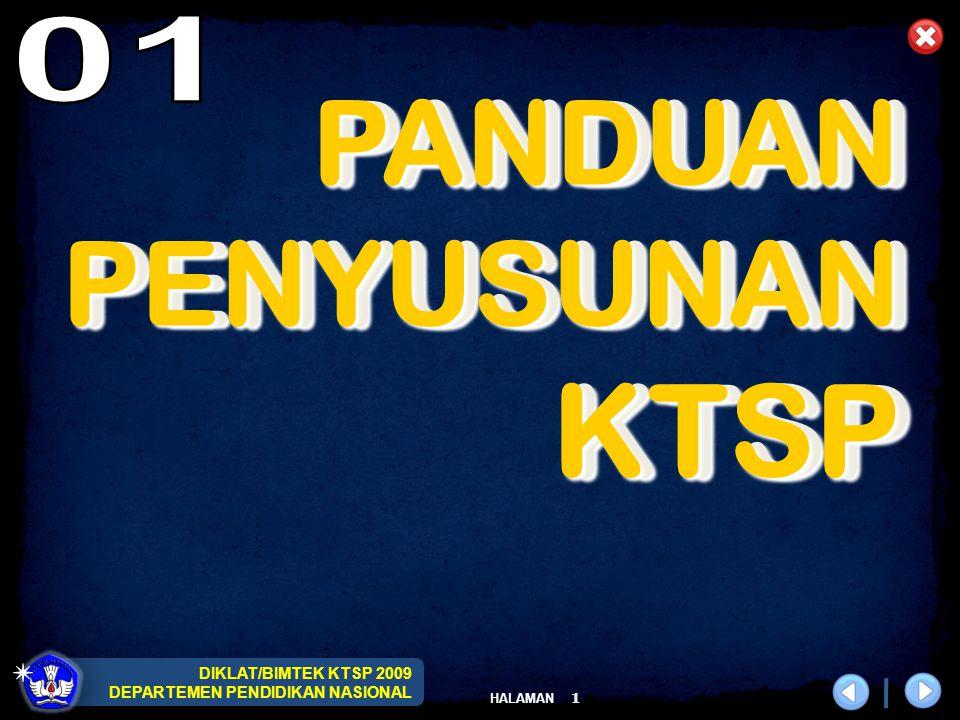 DIKLAT/BIMTEK KTSP 2009 DEPARTEMEN PENDIDIKAN NASIONAL HALAMAN 2 2 LANDASAN UU No.20 Tahun 2003 tentang Sistem Pendidikan Nasional PP No.