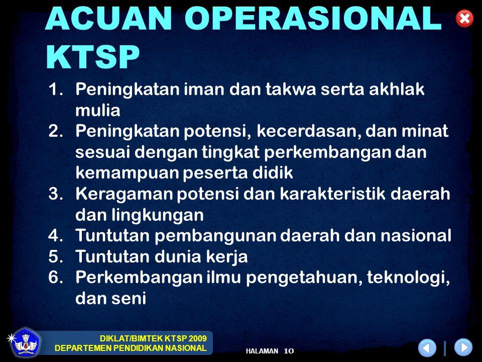 DIKLAT/BIMTEK KTSP 2009 DEPARTEMEN PENDIDIKAN NASIONAL HALAMAN 10 ACUAN OPERASIONAL KTSP 1.Peningkatan iman dan takwa serta akhlak mulia 2.Peningkatan