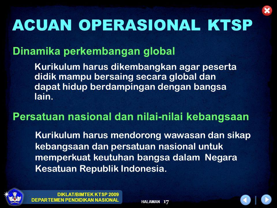 DIKLAT/BIMTEK KTSP 2009 DEPARTEMEN PENDIDIKAN NASIONAL HALAMAN 17 Kurikulum harus dikembangkan agar peserta didik mampu bersaing secara global dan dap