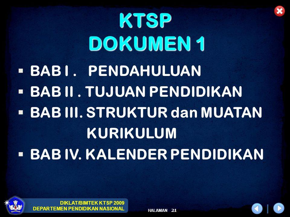 DIKLAT/BIMTEK KTSP 2009 DEPARTEMEN PENDIDIKAN NASIONAL HALAMAN 21 KTSP DOKUMEN 1  BAB I. PENDAHULUAN  BAB II. TUJUAN PENDIDIKAN  BAB III. STRUKTUR