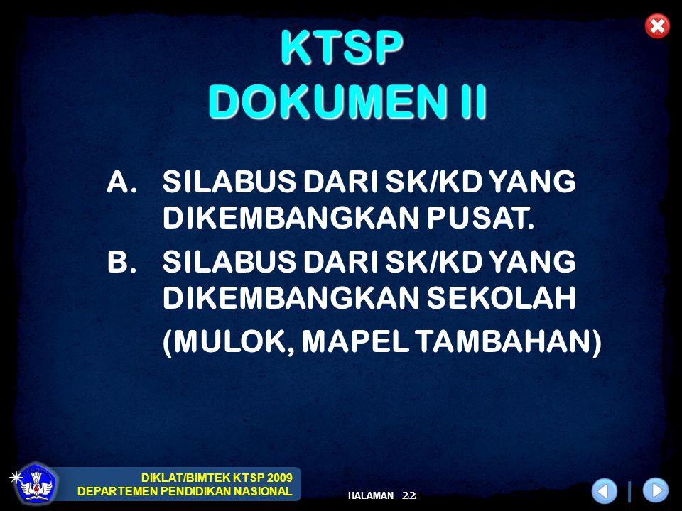 DIKLAT/BIMTEK KTSP 2009 DEPARTEMEN PENDIDIKAN NASIONAL HALAMAN 22 KTSP DOKUMEN II A.SILABUS DARI SK/KD YANG DIKEMBANGKAN PUSAT. B.SILABUS DARI SK/KD Y