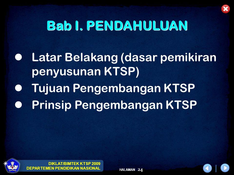 DIKLAT/BIMTEK KTSP 2009 DEPARTEMEN PENDIDIKAN NASIONAL HALAMAN 25 Bab II.