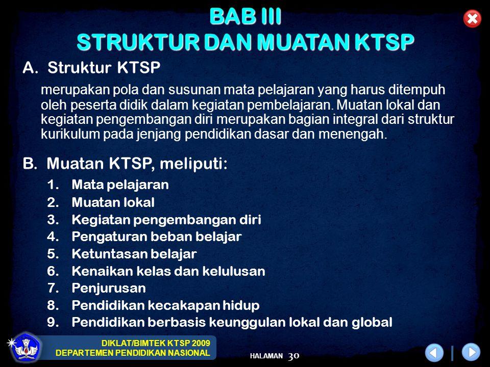 DIKLAT/BIMTEK KTSP 2009 DEPARTEMEN PENDIDIKAN NASIONAL HALAMAN 30 BAB III STRUKTUR DAN MUATAN KTSP A. Struktur KTSP merupakan pola dan susunan mata pe