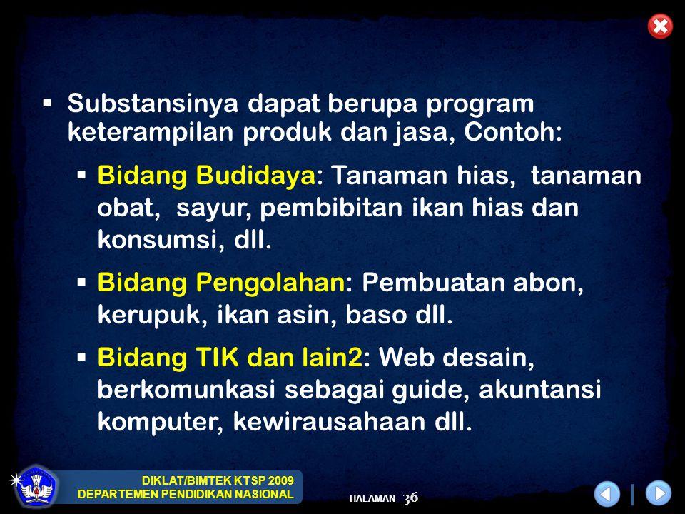 DIKLAT/BIMTEK KTSP 2009 DEPARTEMEN PENDIDIKAN NASIONAL HALAMAN 37  Sekolah harus menyusun SK, KD dan Silabus untuk mulok yang diselenggarakan.