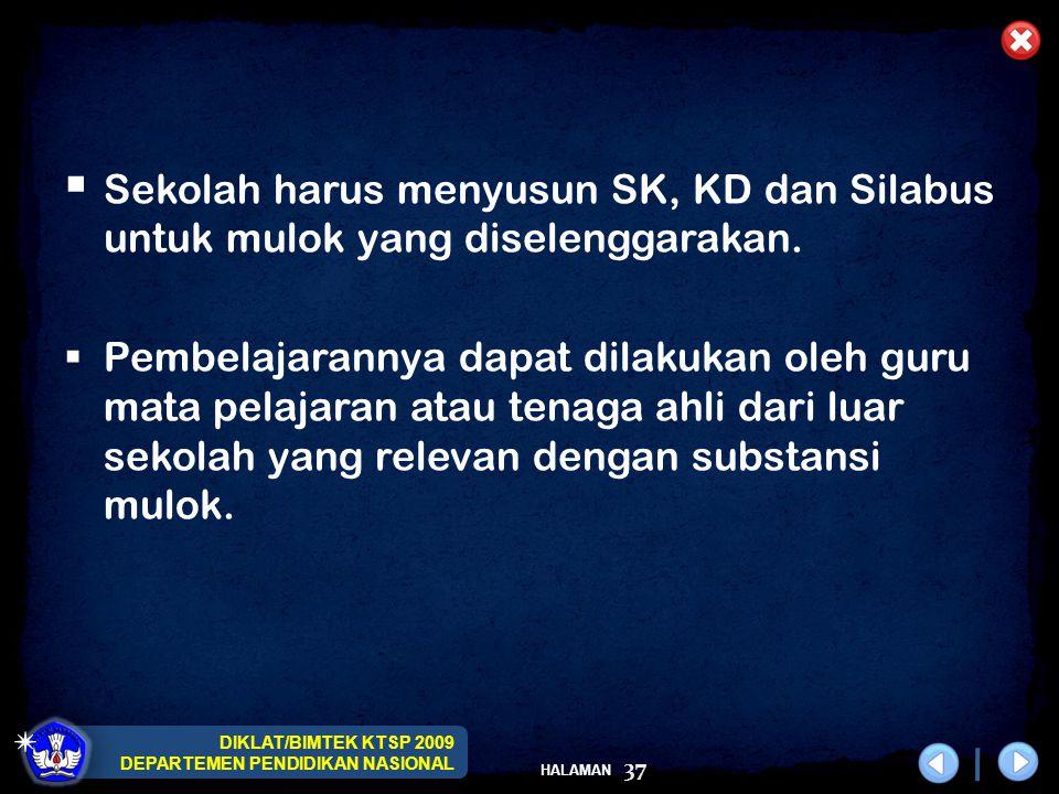 DIKLAT/BIMTEK KTSP 2009 DEPARTEMEN PENDIDIKAN NASIONAL HALAMAN 37  Sekolah harus menyusun SK, KD dan Silabus untuk mulok yang diselenggarakan.  Pemb