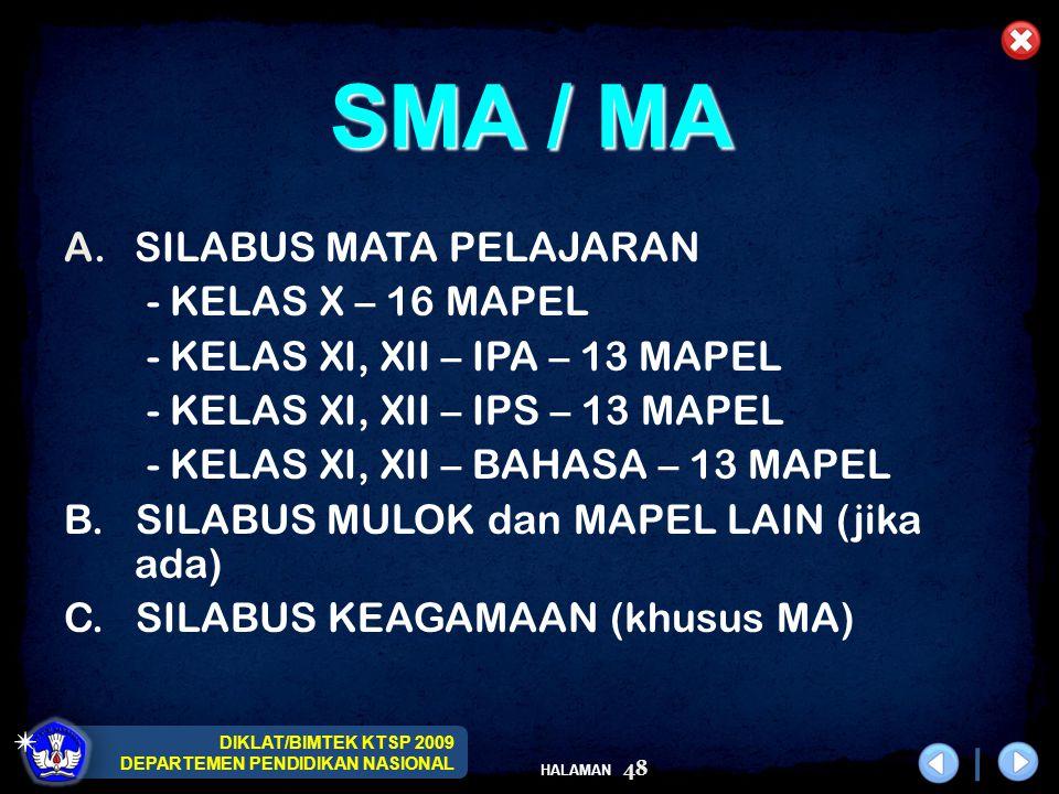 DIKLAT/BIMTEK KTSP 2009 DEPARTEMEN PENDIDIKAN NASIONAL HALAMAN 48 A.SILABUS MATA PELAJARAN - KELAS X – 16 MAPEL - KELAS XI, XII – IPA – 13 MAPEL - KEL