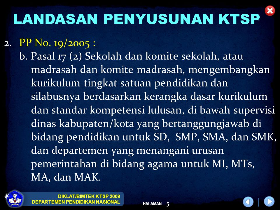 DIKLAT/BIMTEK KTSP 2009 DEPARTEMEN PENDIDIKAN NASIONAL HALAMAN 5 LANDASAN PENYUSUNAN KTSP 2.PP No. 19/2005 : b. Pasal 17 (2) Sekolah dan komite sekola