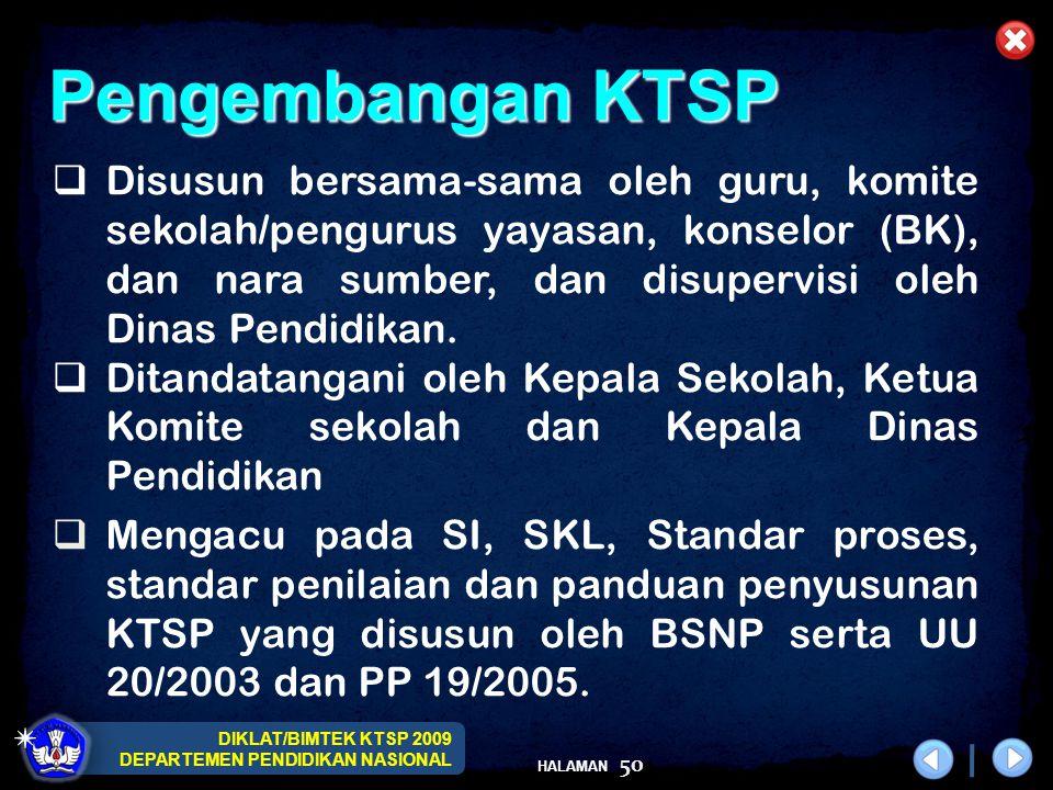 DIKLAT/BIMTEK KTSP 2009 DEPARTEMEN PENDIDIKAN NASIONAL HALAMAN 51  Penyusunan KTSP merupakan bagian dari kegiatan perencanaan sekolah.