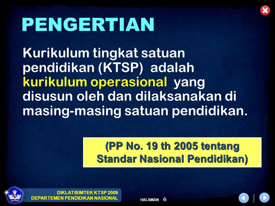 DIKLAT/BIMTEK KTSP 2009 DEPARTEMEN PENDIDIKAN NASIONAL HALAMAN 6 Kurikulum tingkat satuan pendidikan (KTSP) adalah kurikulum operasional yang disusun