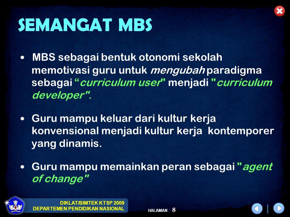 DIKLAT/BIMTEK KTSP 2009 DEPARTEMEN PENDIDIKAN NASIONAL HALAMAN 8 SEMANGAT MBS MBS sebagai bentuk otonomi sekolah memotivasi guru untuk mengubah paradi