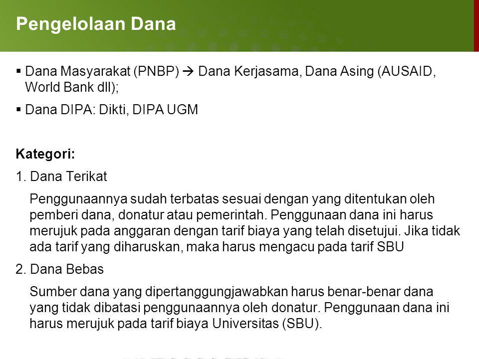 Pengelolaan Dana  Dana Masyarakat (PNBP)  Dana Kerjasama, Dana Asing (AUSAID, World Bank dll);  Dana DIPA: Dikti, DIPA UGM Kategori: 1. Dana Terika