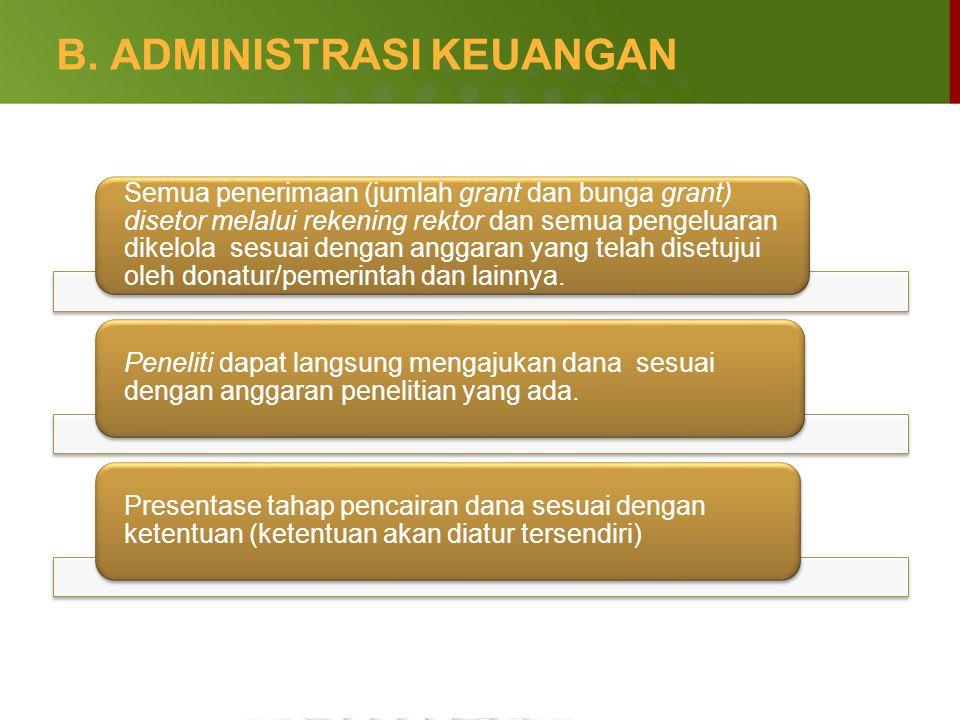 B. ADMINISTRASI KEUANGAN Semua penerimaan (jumlah grant dan bunga grant) disetor melalui rekening rektor dan semua pengeluaran dikelola sesuai dengan