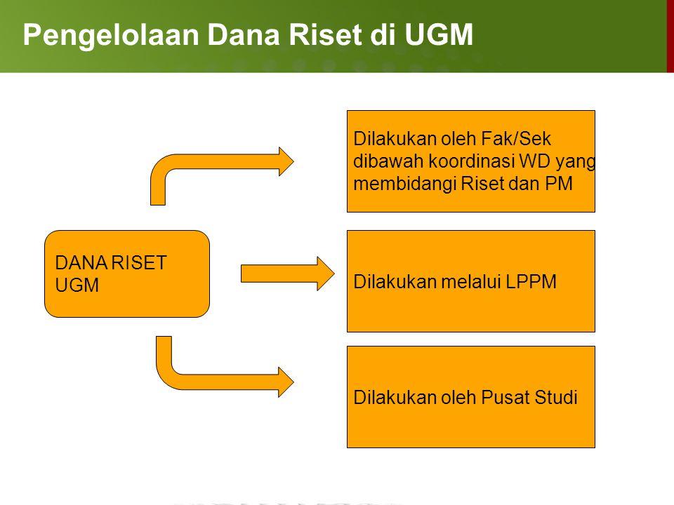 Pengelolaan Dana Riset di UGM DANA RISET UGM Dilakukan oleh Fak/Sek dibawah koordinasi WD yang membidangi Riset dan PM Dilakukan melalui LPPM Dilakuka