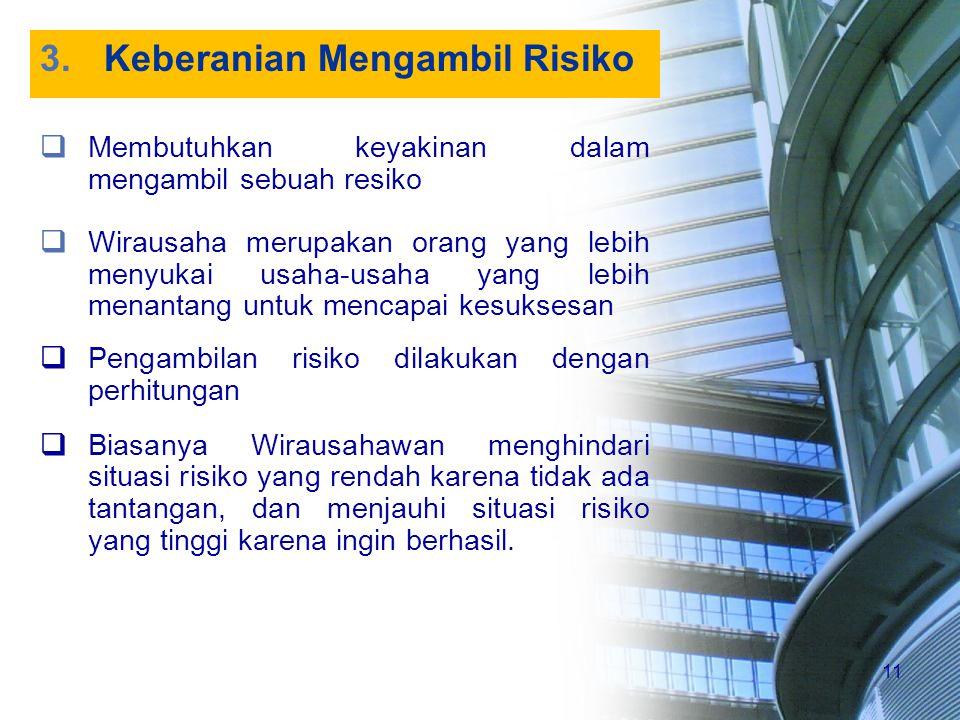 11 3.Keberanian Mengambil Risiko  Membutuhkan keyakinan dalam mengambil sebuah resiko  Wirausaha merupakan orang yang lebih menyukai usaha ‑ usaha y