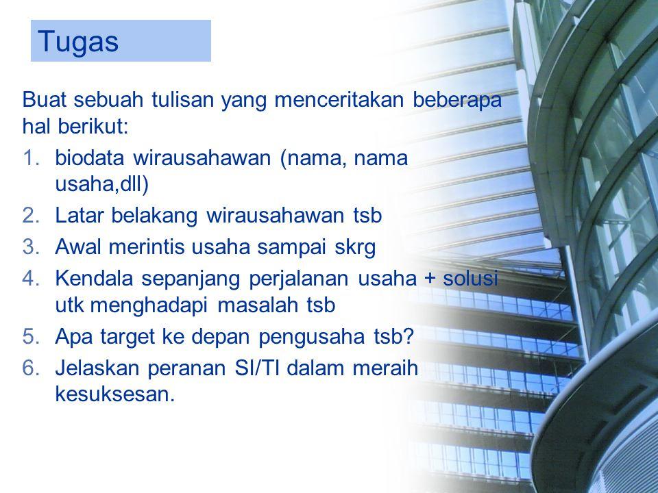 Tugas Buat sebuah tulisan yang menceritakan beberapa hal berikut: 1.biodata wirausahawan (nama, nama usaha,dll) 2.Latar belakang wirausahawan tsb 3.Aw