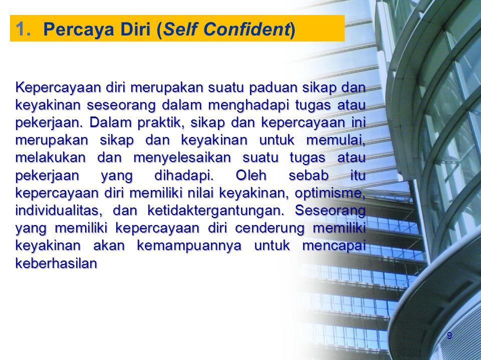 9 1. Percaya Diri (Self Confident) Kepercayaan diri merupakan suatu paduan sikap dan keyakinan seseorang dalam menghadapi tugas atau pekerjaan. Dalam