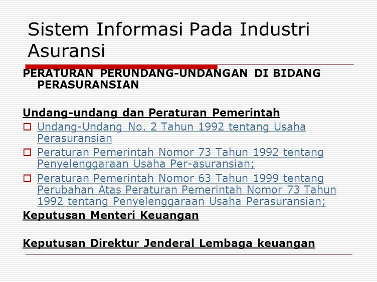 Sistem Informasi Pada Industri Asuransi PERATURAN PERUNDANG-UNDANGAN DI BIDANG PERASURANSIAN Undang-undang dan Peraturan Pemerintah  Undang-Undang No