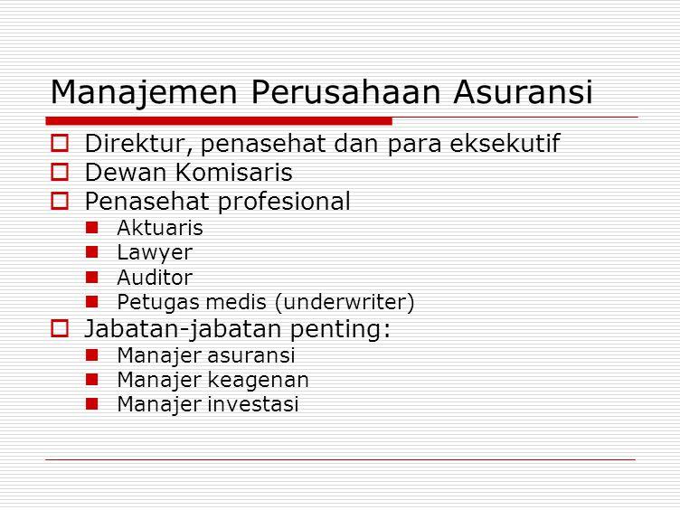 Manajemen Perusahaan Asuransi  Direktur, penasehat dan para eksekutif  Dewan Komisaris  Penasehat profesional Aktuaris Lawyer Auditor Petugas medis