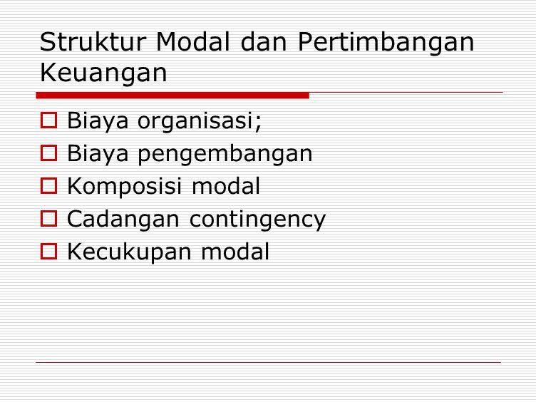 Struktur Modal dan Pertimbangan Keuangan  Biaya organisasi;  Biaya pengembangan  Komposisi modal  Cadangan contingency  Kecukupan modal