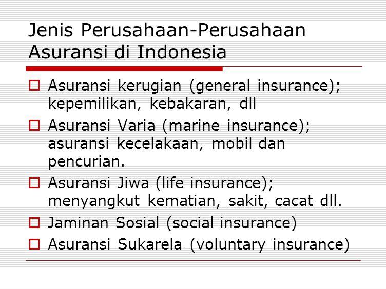 Jenis Perusahaan-Perusahaan Asuransi di Indonesia  Asuransi kerugian (general insurance); kepemilikan, kebakaran, dll  Asuransi Varia (marine insura