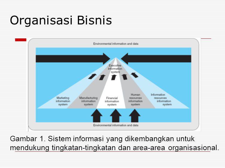 Organisasi Bisnis Gambar 1. Sistem informasi yang dikembangkan untuk mendukung tingkatan-tingkatan dan area-area organisasional.