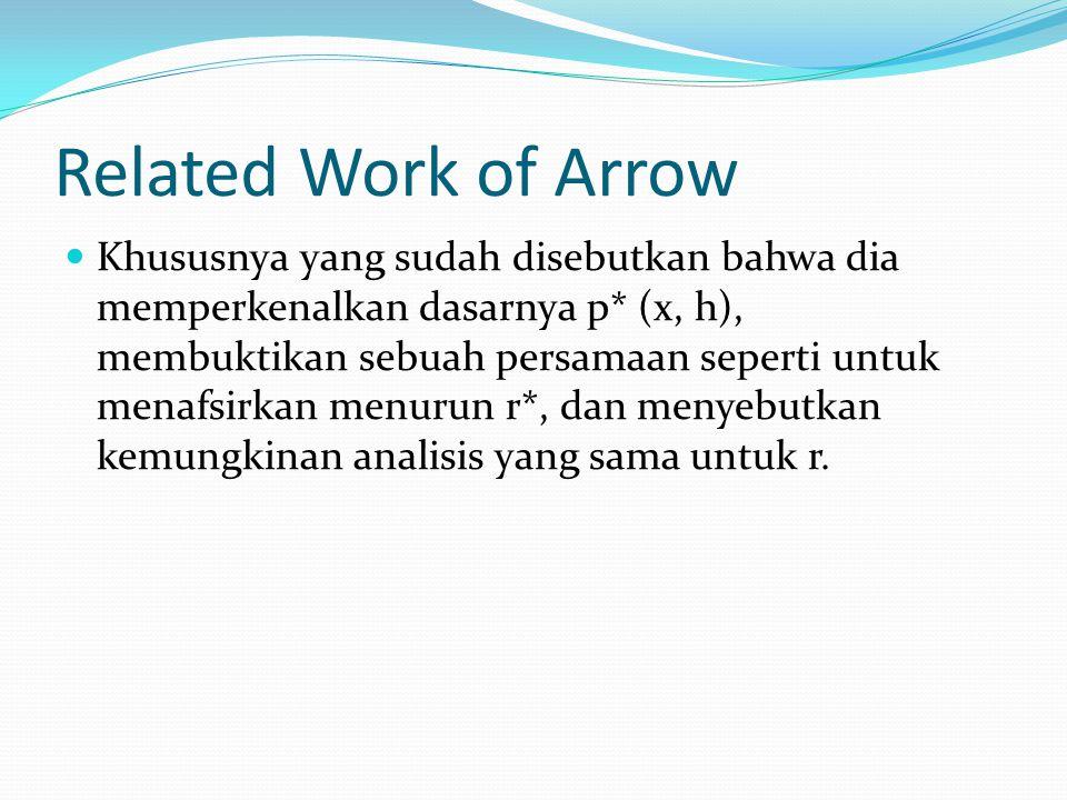Related Work of Arrow Khususnya yang sudah disebutkan bahwa dia memperkenalkan dasarnya p* (x, h), membuktikan sebuah persamaan seperti untuk menafsirkan menurun r*, dan menyebutkan kemungkinan analisis yang sama untuk r.